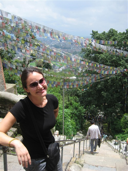 093 Prayer flags on approach to Swayambhunath Buddhist temple.jpg
